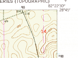 Reduced fragment of topographic map en--usgs--024k--005657--(1954)--N028-45-00_W082-30-00--N028-37-30_W082-22-30
