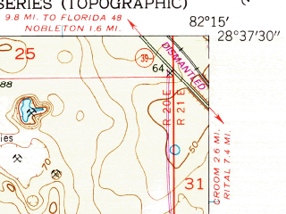 Reduced fragment of topographic map en--usgs--024k--005658--(1954)--N028-37-30_W082-22-30--N028-30-00_W082-15-00