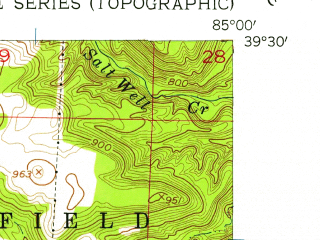 Reduced fragment of topographic map en--usgs--024k--005662--(1956)--N039-30-00_W085-07-30--N039-22-30_W085-00-00; towns and cities Brookville