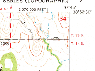 Reduced fragment of topographic map en--usgs--024k--005663--(1955)--N038-52-30_W097-52-30--N038-45-00_W097-45-00; towns and cities Brookville
