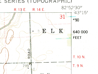 Reduced fragment of topographic map en--usgs--024k--005687--(1961)--N043-15-00_W083-00-00--N043-07-30_W082-52-30; towns and cities Brown City