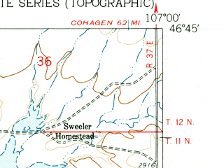 Reduced fragment of topographic map en--usgs--024k--005688--(1960)--N046-45-00_W107-07-30--N046-37-30_W107-00-00