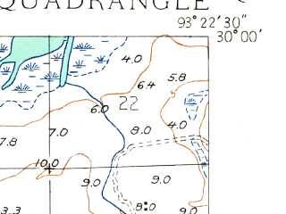 Reduced fragment of topographic map en--usgs--024k--005729--(1934)--N030-00-00_W093-30-00--N029-52-30_W093-22-30; towns and cities Hackberry