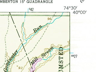 Reduced fragment of topographic map en--usgs--024k--005731--(1957)--N040-00-00_W074-37-30--N039-52-30_W074-30-00; towns and cities Brown Mills, Presidential Lakes Estates, Country Lake Estates