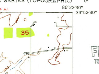 Reduced fragment of topographic map en--usgs--024k--005739--(1953)--N039-52-30_W086-30-00--N039-45-00_W086-22-30; towns and cities Brownsburg, Pittsboro