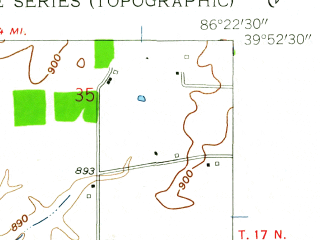 Reduced fragment of topographic map en--usgs--024k--005739--(1959)--N039-52-30_W086-30-00--N039-45-00_W086-22-30; towns and cities Brownsburg, Pittsboro