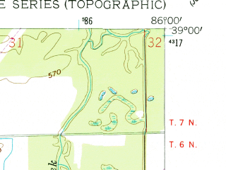 Reduced fragment of topographic map en--usgs--024k--005742--(1958)--N039-00-00_W086-07-30--N038-52-30_W086-00-00; towns and cities Brownstown