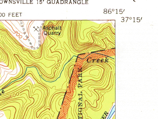 Reduced fragment of topographic map en--usgs--024k--005744--(1954)--N037-15-00_W086-22-30--N037-07-30_W086-15-00; towns and cities Brownsville