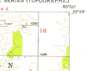 Reduced fragment of topographic map en--usgs--024k--005745--(1956)--N039-45-00_W085-07-30--N039-37-30_W085-00-00