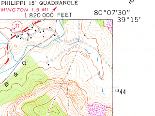 Reduced fragment of topographic map en--usgs--024k--005751--(1961)--N039-15-00_W080-15-00--N039-07-30_W080-07-30