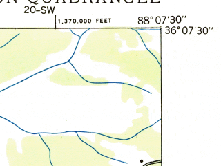 Reduced fragment of topographic map en--usgs--024k--005766--(1936)--N036-07-30_W088-15-00--N036-00-00_W088-07-30; towns and cities Bruceton