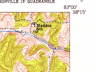 Reduced fragment of topographic map en--usgs--024k--005770--(1950)--N038-15-00_W083-07-30--N038-07-30_W083-00-00