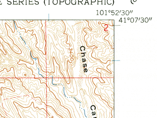 Reduced fragment of topographic map en--usgs--024k--005773--(1961)--N041-07-30_W102-00-00--N041-00-00_W101-52-30; towns and cities Brule