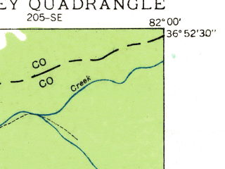 Reduced fragment of topographic map en--usgs--024k--005778--(1934)--N036-52-30_W082-07-30--N036-45-00_W082-00-00