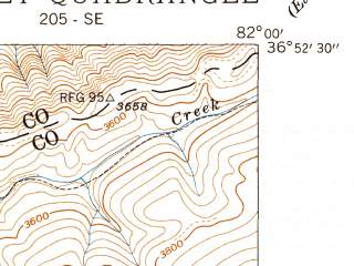 Reduced fragment of topographic map en--usgs--024k--005778--(1939)--N036-52-30_W082-07-30--N036-45-00_W082-00-00