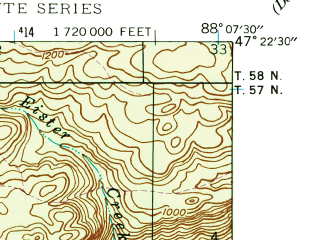 Reduced fragment of topographic map en--usgs--024k--005785--(1946)--N047-22-30_W088-15-00--N047-15-00_W088-07-30