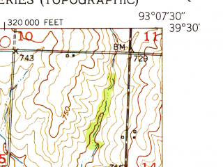 Reduced fragment of topographic map en--usgs--024k--005804--(1951)--N039-30-00_W093-15-00--N039-22-30_W093-07-30; towns and cities Brunswick, De Witt, Triplett