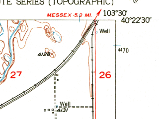 Reduced fragment of topographic map en--usgs--024k--005810--(1951)--N040-22-30_W103-37-30--N040-15-00_W103-30-00; towns and cities Hillrose