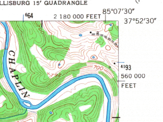 Reduced fragment of topographic map en--usgs--024k--005811--(1953)--N037-52-30_W085-15-00--N037-45-00_W085-07-30