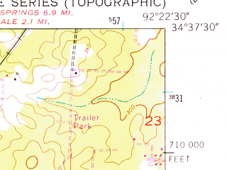 Reduced fragment of topographic map en--usgs--024k--005842--(1954)--N034-37-30_W092-30-00--N034-30-00_W092-22-30; towns and cities Bryant, Shannon Hills