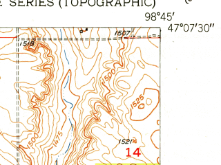 Reduced fragment of topographic map en--usgs--024k--005860--(1952)--N047-07-30_W098-52-30--N047-00-00_W098-45-00; towns and cities Buchanan