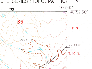 Reduced fragment of topographic map en--usgs--024k--005898--(1960)--N040-52-30_W105-07-30--N040-45-00_W105-00-00