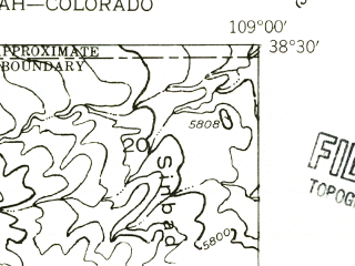 Reduced fragment of topographic map en--usgs--024k--005909--(1954)--N038-30-00_W109-07-30--N038-22-30_W109-00-00