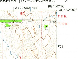 Reduced fragment of topographic map en--usgs--024k--005910--(1962)--N040-52-30_W099-00-00--N040-45-00_W098-52-30