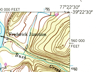 Reduced fragment of topographic map en--usgs--024k--005912--(1952)--N039-22-30_W077-30-00--N039-15-00_W077-22-30; towns and cities Ballenger Creek