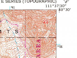 Reduced fragment of topographic map en--usgs--024k--005917--(1956)--N033-30-00_W111-45-00--N033-22-30_W111-37-30; towns and cities Mesa