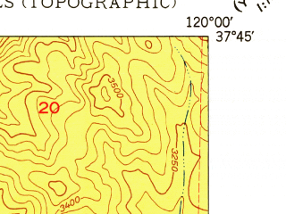 Reduced fragment of topographic map en--usgs--024k--005937--(1949)--N037-45-00_W120-07-30--N037-37-30_W120-00-00