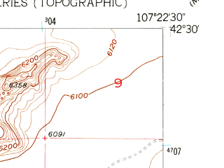 Reduced fragment of topographic map en--usgs--024k--005958--(1951)--N042-30-00_W107-30-00--N042-22-30_W107-22-30