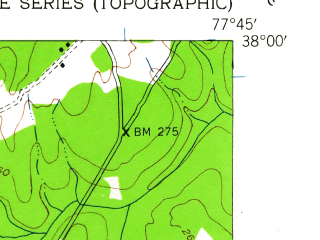 Reduced fragment of topographic map en--usgs--024k--005960--(1942)--N038-00-00_W077-52-30--N037-52-30_W077-45-00
