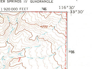 Reduced fragment of topographic map en--usgs--024k--005973--(1960)--N033-30-00_W116-37-30--N033-22-30_W116-30-00