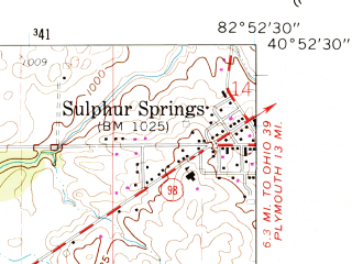 Reduced fragment of topographic map en--usgs--024k--005984--(1960)--N040-52-30_W083-00-00--N040-45-00_W082-52-30; towns and cities Bucyrus
