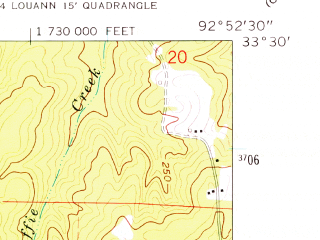 Reduced fragment of topographic map en--usgs--024k--005995--(1962)--N033-30-00_W093-00-00--N033-22-30_W092-52-30