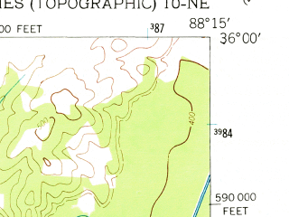 Reduced fragment of topographic map en--usgs--024k--005999--(1950)--N036-00-00_W088-22-30--N035-52-30_W088-15-00