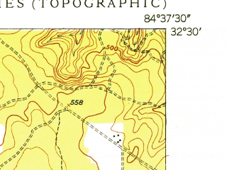 Reduced fragment of topographic map en--usgs--024k--006005--(1949)--N032-30-00_W084-45-00--N032-22-30_W084-37-30