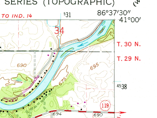 Reduced fragment of topographic map en--usgs--024k--006014--(1962)--N041-00-00_W086-45-00--N040-52-30_W086-37-30