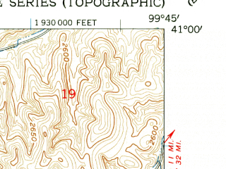 Reduced fragment of topographic map en--usgs--024k--006019--(1962)--N041-00-00_W099-52-30--N040-52-30_W099-45-00