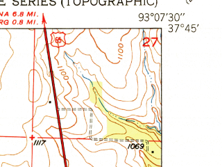 Reduced fragment of topographic map en--usgs--024k--006058--(1951)--N037-45-00_W093-15-00--N037-37-30_W093-07-30