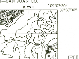 Reduced fragment of topographic map en--usgs--024k--006096--(1955)--N037-37-30_W109-15-00--N037-30-00_W109-07-30