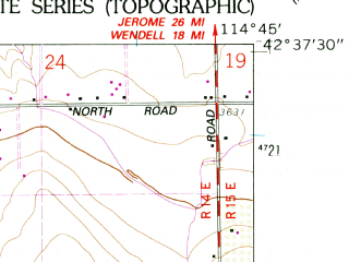 Reduced fragment of topographic map en--usgs--024k--006101--(1958)--N042-37-30_W114-52-30--N042-30-00_W114-45-00; towns and cities Castleford, Buhl