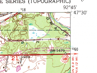Reduced fragment of topographic map en--usgs--024k--006102--(1951)--N047-30-00_W092-52-30--N047-22-30_W092-45-00; towns and cities Buhl