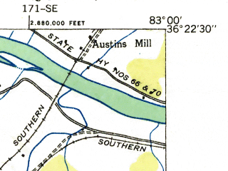 Reduced fragment of topographic map en--usgs--024k--006174--(1935)--N036-22-30_W083-07-30--N036-15-00_W083-00-00; towns and cities Bulls Gap