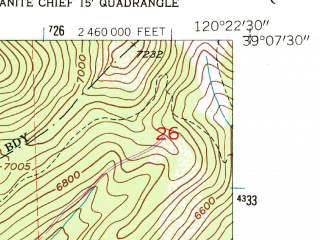 Reduced fragment of topographic map en--usgs--024k--006197--(1953)--N039-07-30_W120-30-00--N039-00-00_W120-22-30