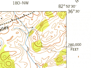 Reduced fragment of topographic map en--usgs--024k--006228--(1939)--N036-30-00_W083-00-00--N036-22-30_W082-52-30