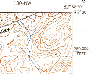 Reduced fragment of topographic map en--usgs--024k--006228--(1940)--N036-30-00_W083-00-00--N036-22-30_W082-52-30