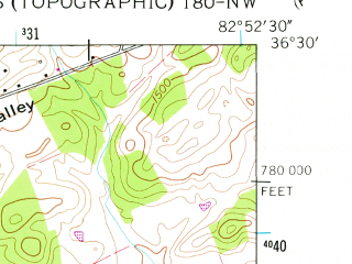 Reduced fragment of topographic map en--usgs--024k--006228--(1961)--N036-30-00_W083-00-00--N036-22-30_W082-52-30