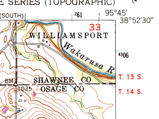 Reduced fragment of topographic map en--usgs--024k--006261--(1952)--N038-52-30_W095-52-30--N038-45-00_W095-45-00; towns and cities Burlingame